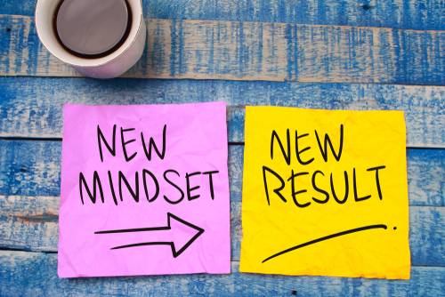 New Mindset New Results Coloured Post-It's
